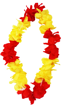 COLLIER HAWAIEN ROUGE ET JAUNE - Décorations catalanes - Accessoires du supporter - Articles supporters et drapeaux - Fête en Fête - Déguisements, mariages, baptêmes, articles de fête, halloween