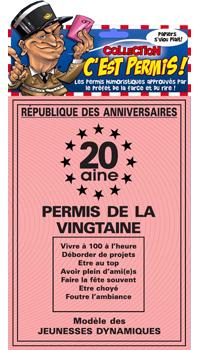 Carte Humoristique Permis De La Vingtaine Achat Vente